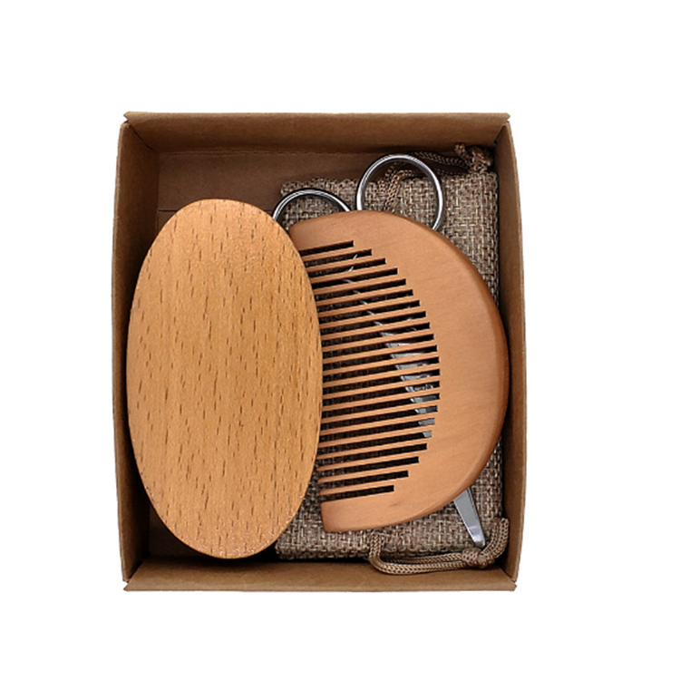 Private Label Hair Scissor Beard Brush And Comb Set Beard Grooming Kit