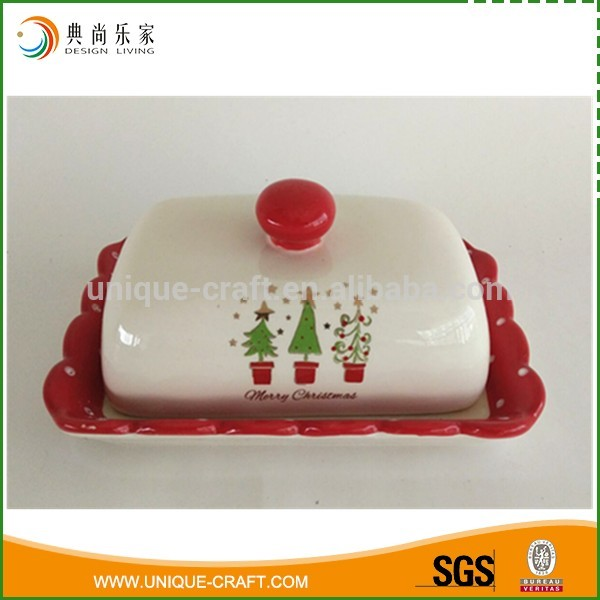 Newest Christmas Ceramic Butter Dish/Plate with lid