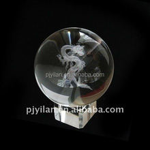 elegant 3d laser engraved good quality crystal dragon ball