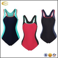 Ecoach Round sports hollow out diamond back Contrast hemline Backless removable cups Splice One Piece swimsuit women