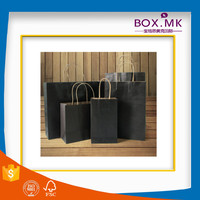 Recycle Stand Up Food Grade Kraft Matt Paper Shopping Bag With Ribbon Handle