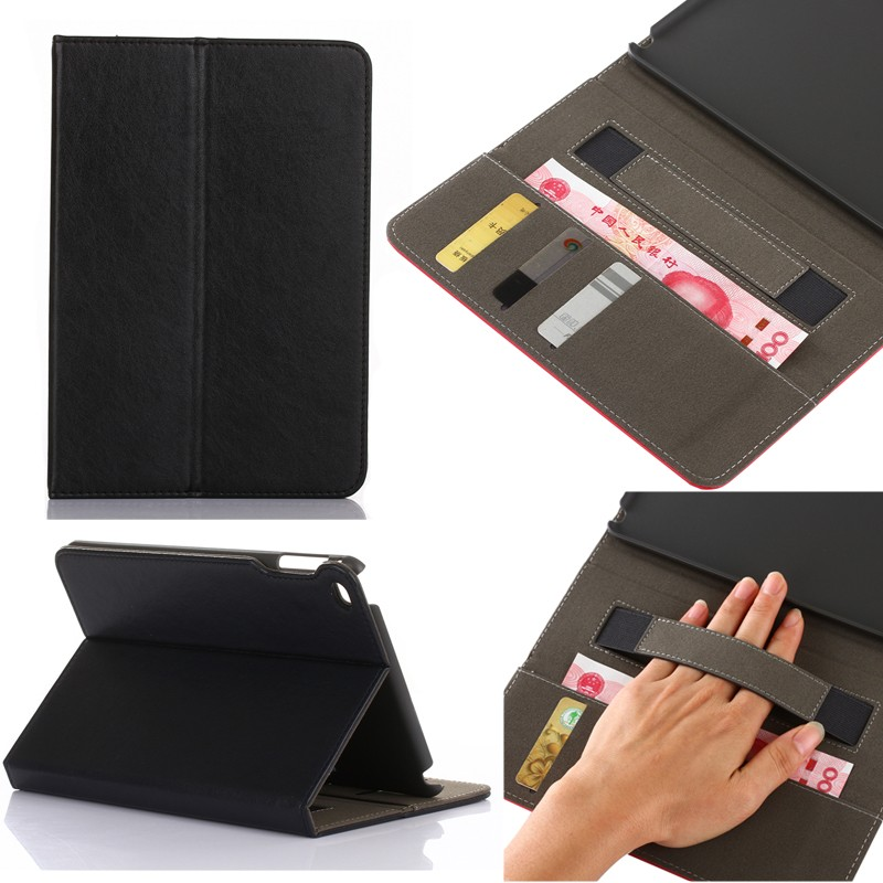 premium leather card slot stand holder tablet leather case for ipad mini 4
