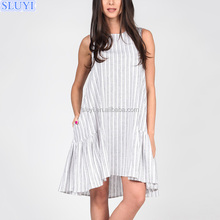 vestidos casuales latest sexy mini dress design summer casual sleeveless white blue stripe linen dresses made in india