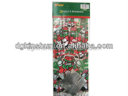 Christmas Candy Cane Design Zippered Plastic Treat Goodie Bags