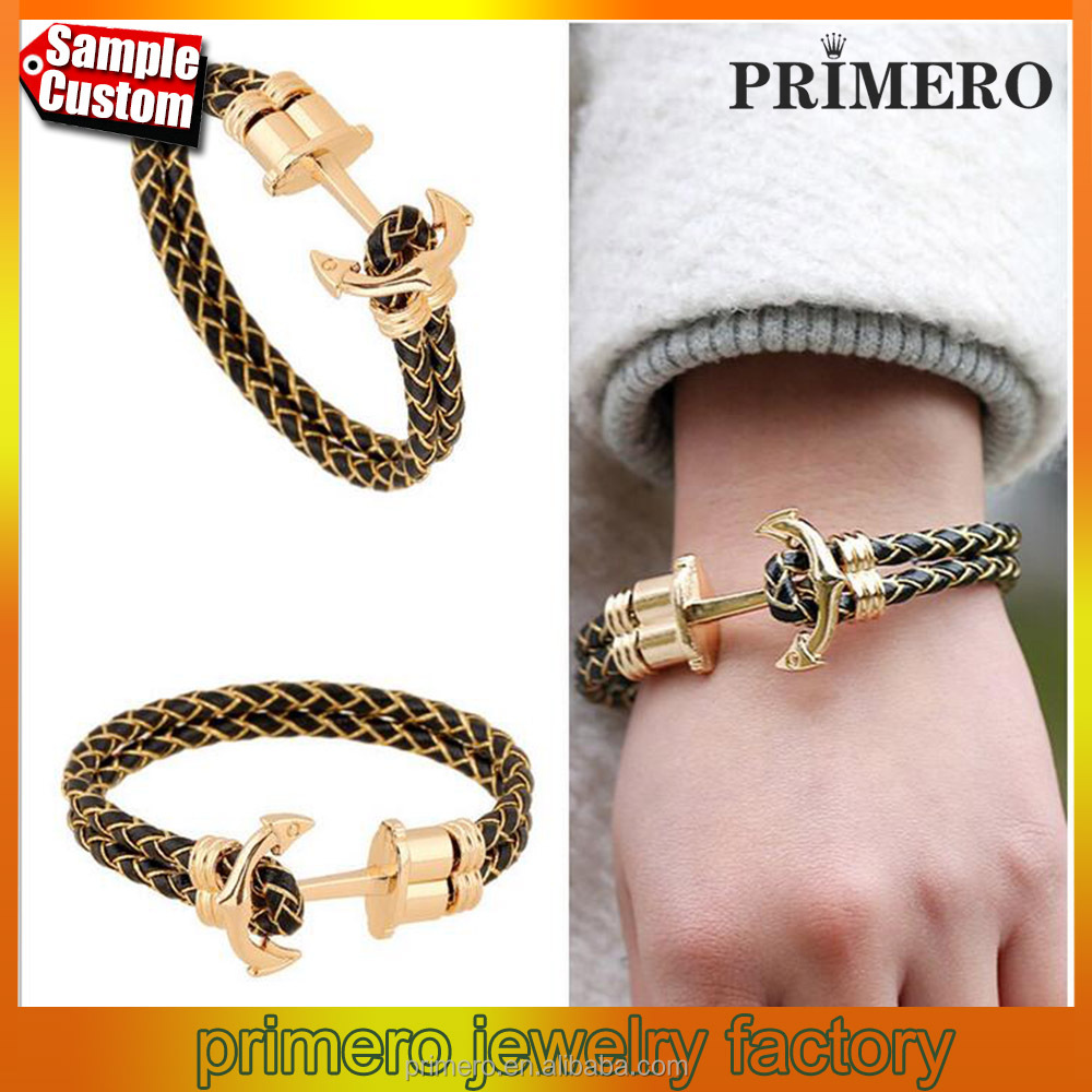 New Fashion jewelry 18K Gold Anchor Weave Stingray Leather Bracelet for Women Man