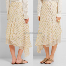 pictures of a-line skirt high waist soft fluted pleats Asymmetric metallic silk-blend midi skirt