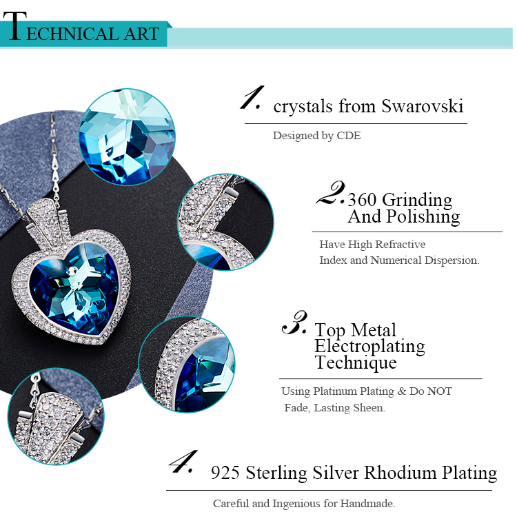 Crystals from Swarovski 925 Sterling Silver Jewelry Women Crystal Pendant Necklace
