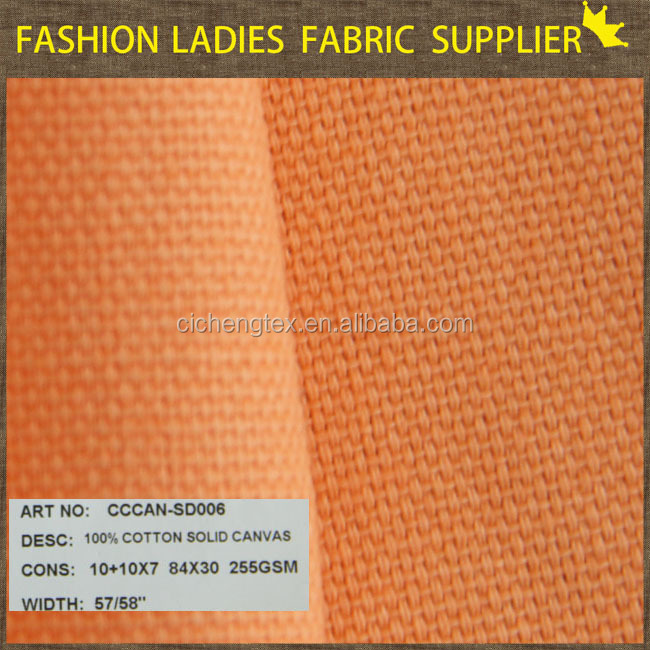 suit fabric with high quality in 100% cotton content plain weave solid panama canvas fabric
