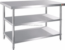 Factory price Stainless Steel Kitchen Prep Work Table With 3 Layers