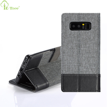 Jean Canvas Style Flip Leaher Wallet Phone Case For Samsung Galaxy Note 8