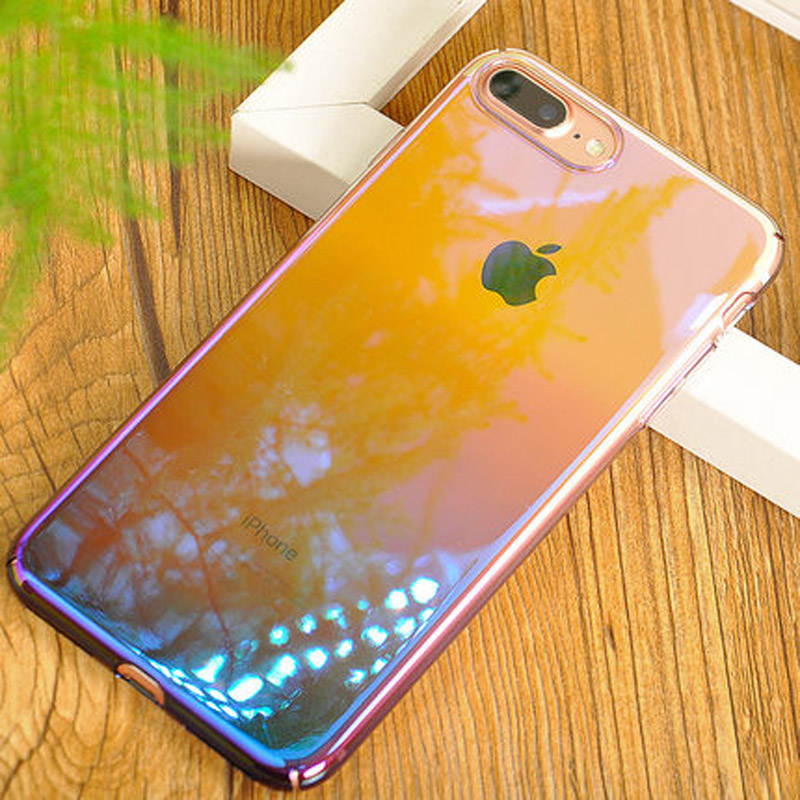 Luxury Gradient color transparent PC hard phone case cover for iphone 7/iphone 7plus back shell cover