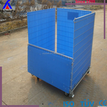 Foldable galvanized portable storage cage metal box steel wire mesh container