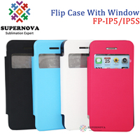Hot Sale Blank Sublimation Leather Flip Phone Case with Window for iPhone 5 5s