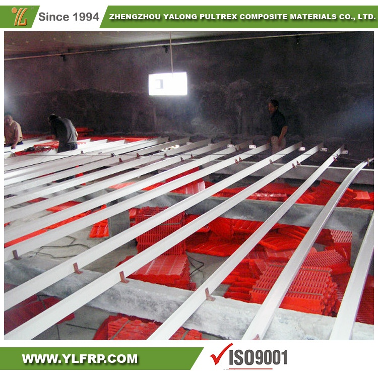 high strength fiberlgass support beams for farrowing crate design using