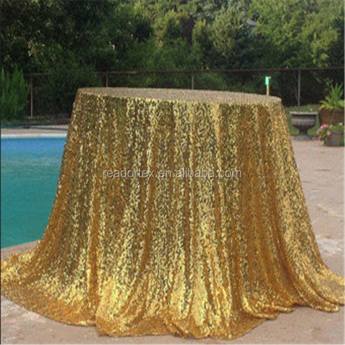 Wedding Event Decoration Satin Gold Sequin Table Cloth