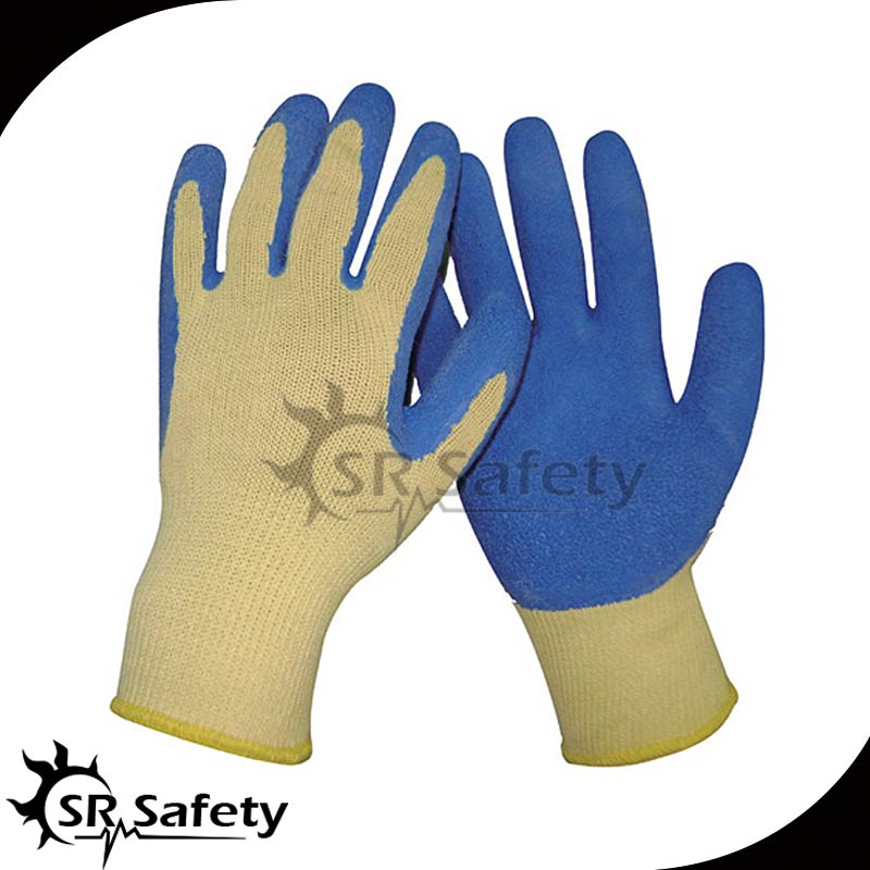 SRSAFETY 10 Ga Yellow Polycotton Liner Coated Blue Latex rubber gloves scrubbers