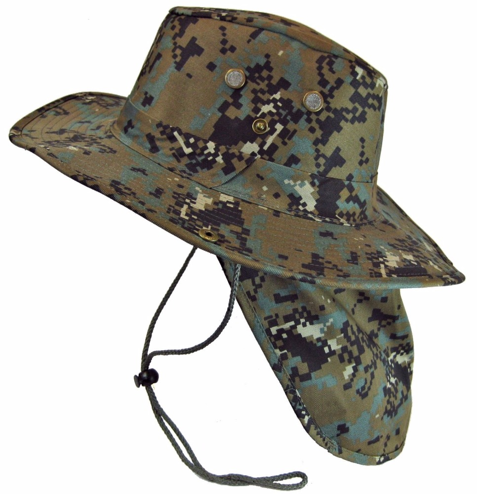 Military CAMO Boonie Bush Fishing Hiking Snap Brim Neck Flap Sun Cover Hat