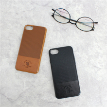 Authentic leather twill patchwork simple color genuine leather phone case for iphone 7 7plus
