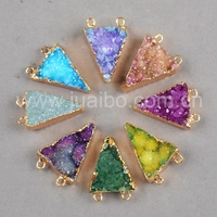 triangle brazil amethyst geode pendant wholesale druzy gold plated