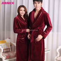 Lovers rose red flannel solid full sleeve men and women's bath robe China factory wholesale inquiry now