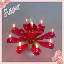 plastic Fancy rotating musical happy birthday flower candle, indoor firework birthday candle