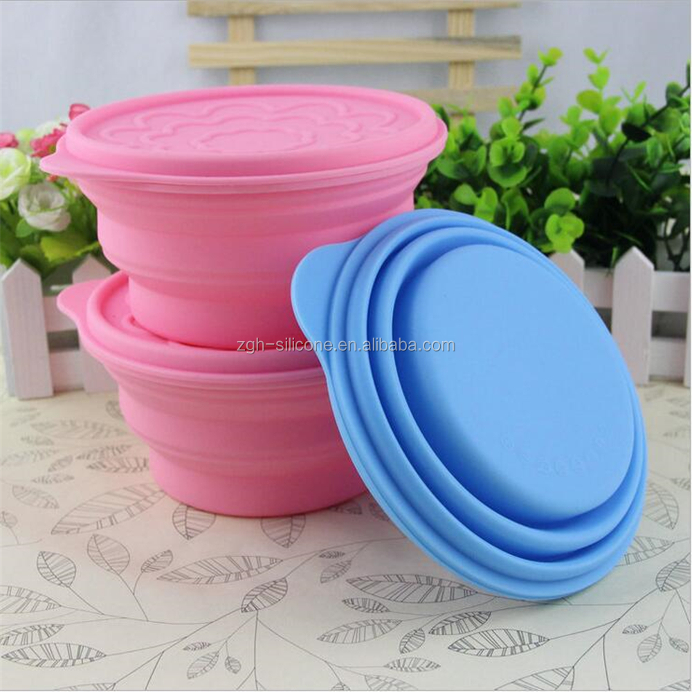 Food grade promotional soft product silicone rubber folding bowl