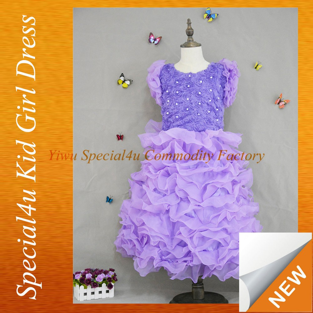 2015 boutique kids girls wedding dress purple lace baby girl dress SPSY-121