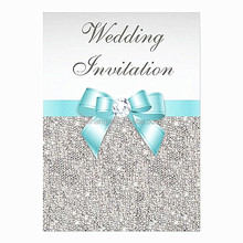 Charming silk glitter wedding invitations with teal ribbons & crystal decorations
