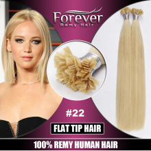 10A top quality keratin 100 remy human russian blonde double drawn flat tip hair extension