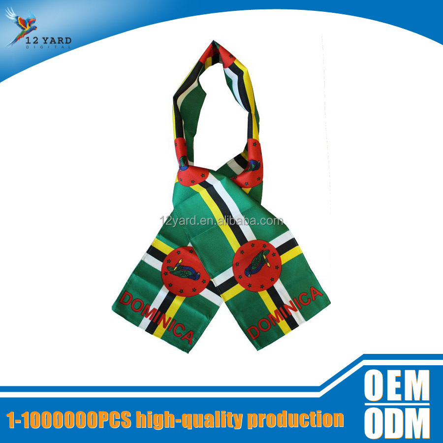 wholesale India square day neck decorative printed Dominica national scarf