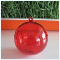 Wholesales Free Shipping 8CM Translucent color plastic separable 2 part ball Openable Hanging acrylic Christmas Ornament Ball