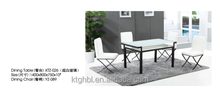 white Classic European style simple tempered glass dining table