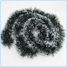 Fluffy Green Tinsel Garland With Snow Christmas Tree Ornament Evening Party Decoration