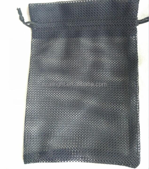 Promotional Custom Logo Black Small Nylon Mesh Drawstring Bag