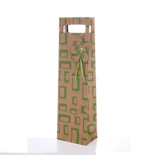 High quality kraft paper black drawstrings wine bottle gift bag for great goods