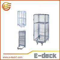 Zinc plated wire mesh storage laundry used trolley roll container