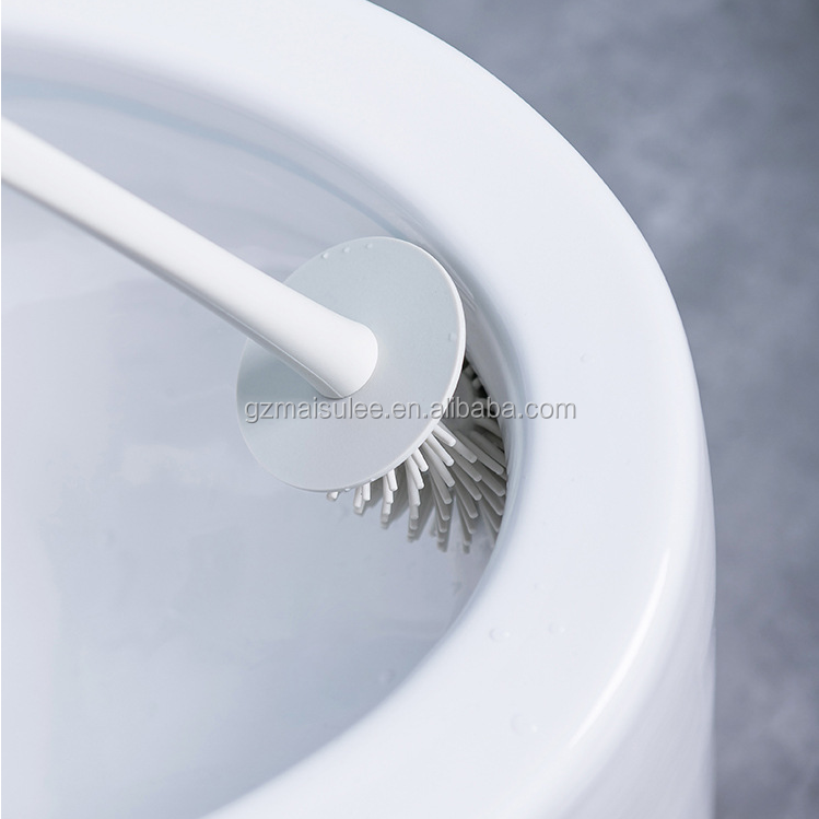 2019 Best cheap disposable curved  toilet brush, silicone toilet brush with soft bristle