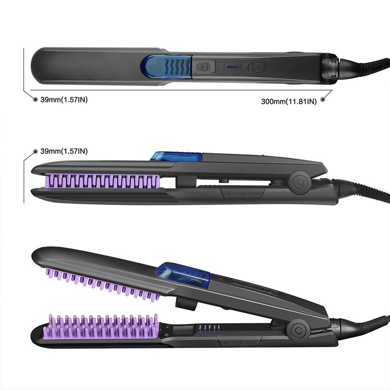 Wholesale LED Display Salon tools custom automatic electric professional ceramic ionic steam hair straightener brush