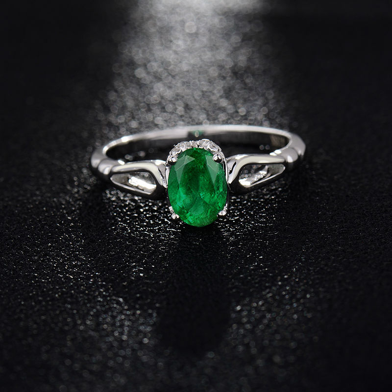 Gemstone Rings For Women Design Oval 5x7mm Natural Colombian Emerald Diamond Ring 18K White Gold Unique Jewelry WU260