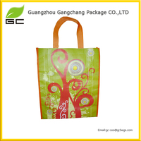 Custom printed eco shopping tote bag pp fabric woven bag high quality reusable carry handle bag