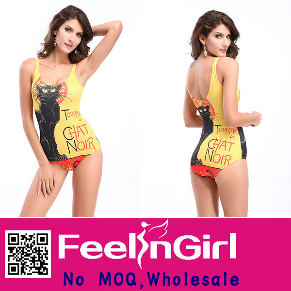 Attractive Wholesale Black Cat Pattern Sex Girl Xxl New Sex Swimsuit