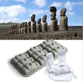 Novelty Easter Island Moai Stone Statues Ice Cream Mould Summer Mini Silicone Cake Mould Ice Tray Ice Cubes DIY Mould