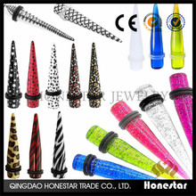 Ear Taper Expander Plug Piercing Gauge Stretcher Flesh Tunnel Zebra Stars