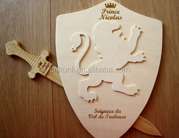 wood Shield and sword for little prince / wooden toy engraved for childnames