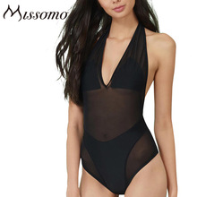 HAODUOYI Halter Backless Redes Transpirable Mameluco Playsuit Mujeres Semi-sheer V Cuello Delgado Traje de China Proveedor