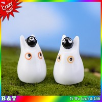 DIY natural plant desk decoration accessories resin small white dragon resin cat doll