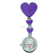 Free Shipping Engrave name on back Three Heart Safety Clip Hanging Pocket Nurse Fob Watches