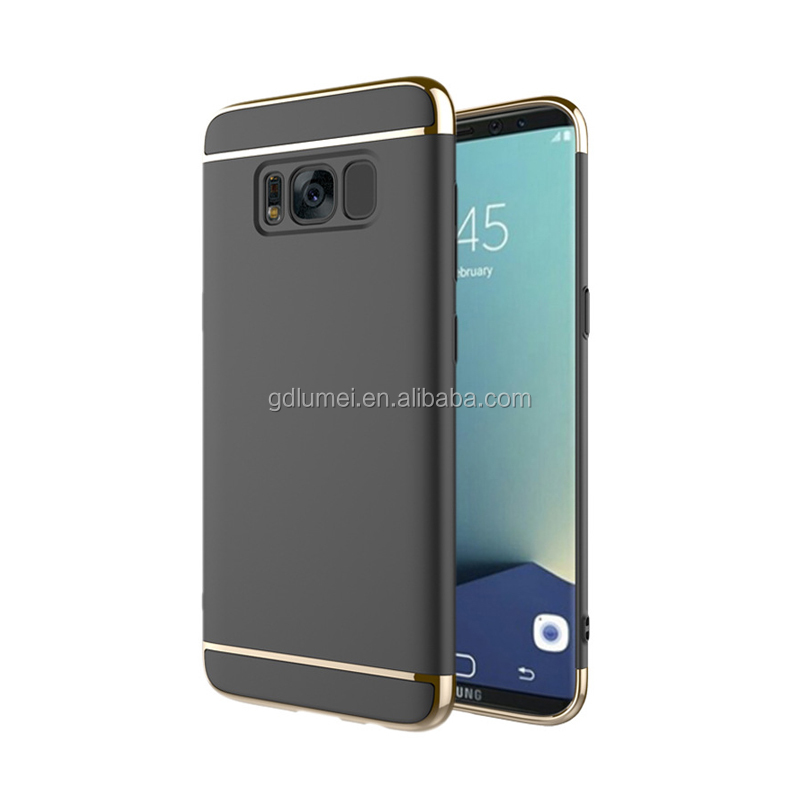 Mobile Phone Luxury Electroplating 3 IN 1 Matte PC Hard Shell Cover Case For Samsung Galaxy S8