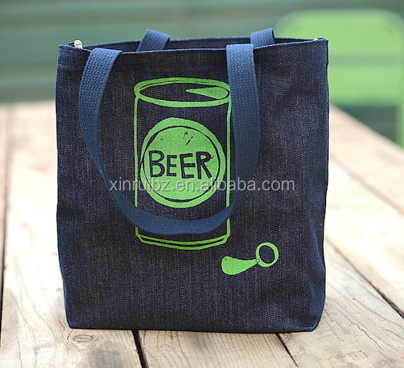 High Quality Six Pack Holder Beer Bag Denim Tote Bag