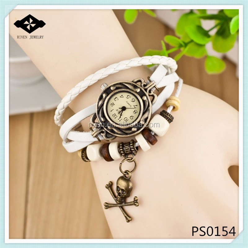PS0154 Peresonal Young Boys Fashion Braided Leather skeleton watch